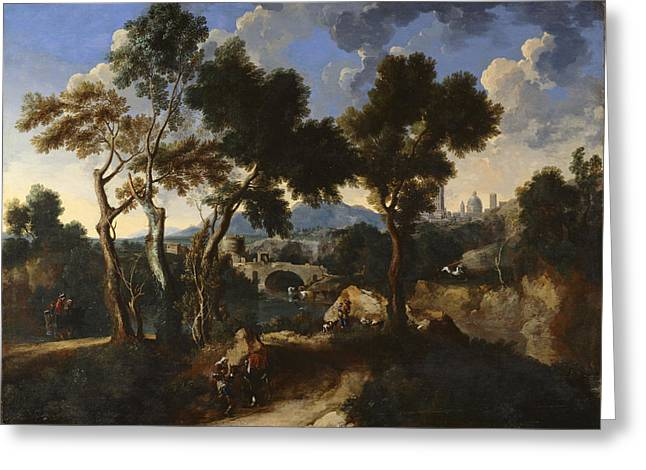 Landscape With Villagers, C.1640 Greeting Card by Gaspard & Miel, Jan van Dughet