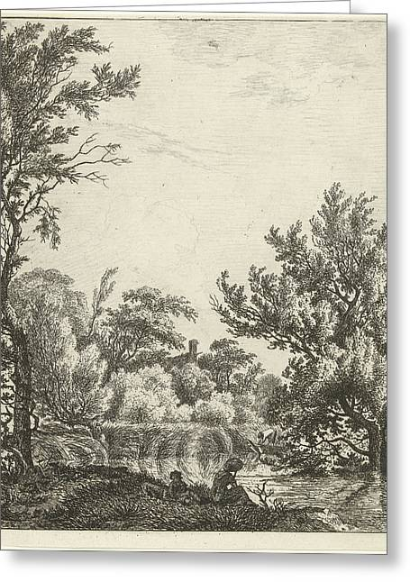 Landscape With Woman At Waterfront, Print Maker Hermanus Greeting Card