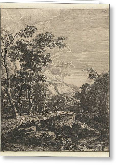 Landscape With Woman Riding A Mule Along The Aqua Negro Greeting Card by Jan Both
