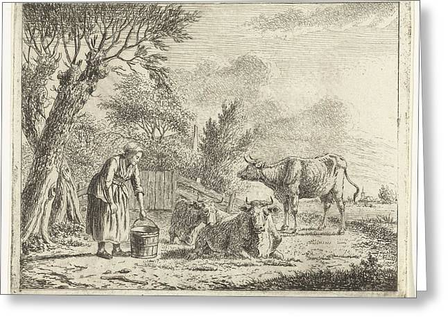 Landscape With Woman With Milk Bucket And Three Cows Greeting Card by Artokoloro