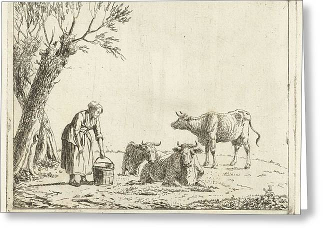 Landscape With Woman With Milk Bucket With Three Cows Greeting Card by Artokoloro
