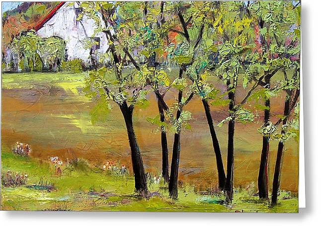 Landscapes Art - Hill House Greeting Card by Blenda Studio