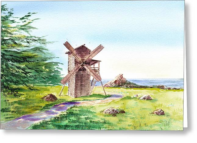 Landscapes Of California Fort Ross Windmill Greeting Card by Irina Sztukowski