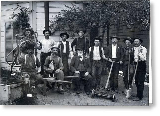 Landscaping Crew Greeting Card by Underwood Archives