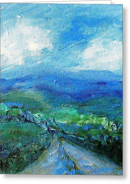 Lane To The Wicklow Hills Greeting Card by Trudi Doyle