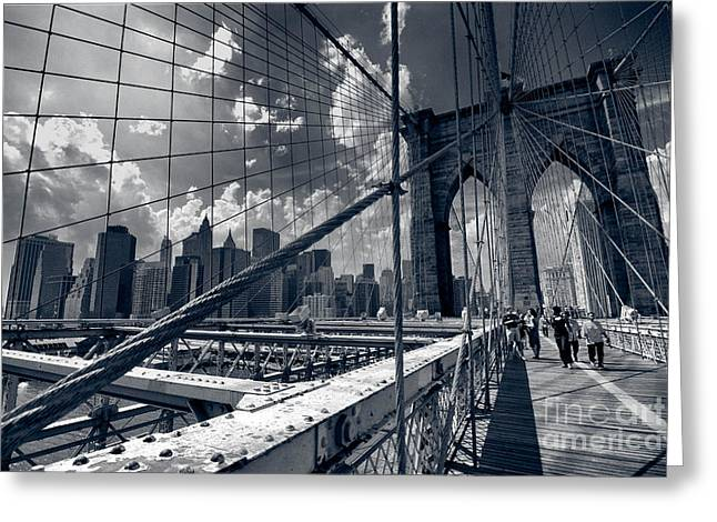 Lanes For Pedestrian And Bicycle Traffic On The Brooklyn Bridge Greeting Card by Amy Cicconi