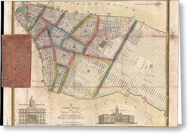 Langdon Pocket Map Of New York City Greeting Card by Paul Fearn