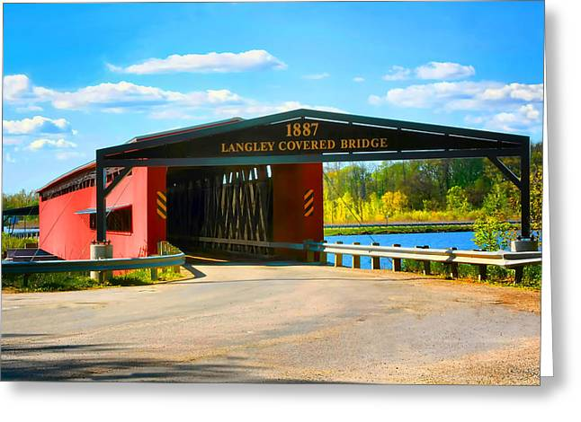 Langley Covered Bridge - Michigan Greeting Card by Pat Cook