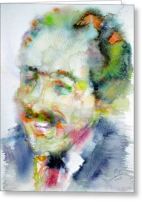 Langston Hughes - Watercolor Portrait Greeting Card by Fabrizio Cassetta