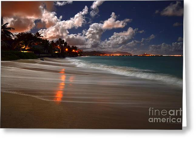 Lanikai Beach At Night View Of Kailua Bay  Greeting Card