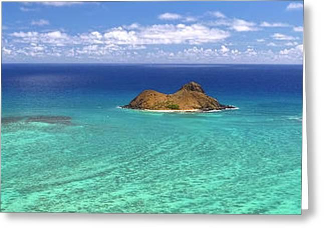 Lanikai Beach From Above Panorama Greeting Card