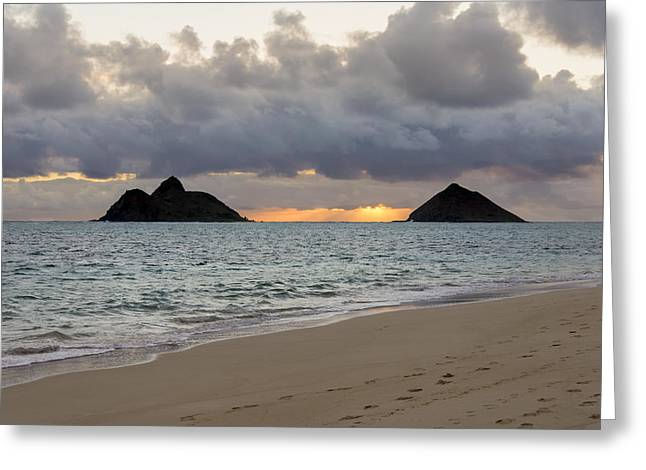 Lanikai Beach Sunrise 4 - Kailua Oahu Hawaii Greeting Card by Brian Harig