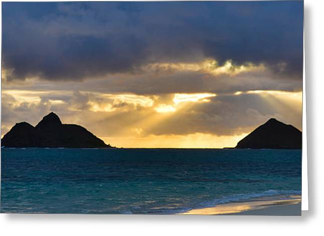 Lanikai Beach Sunrise Panorama 2 - Kailua Oahu Hawaii Greeting Card