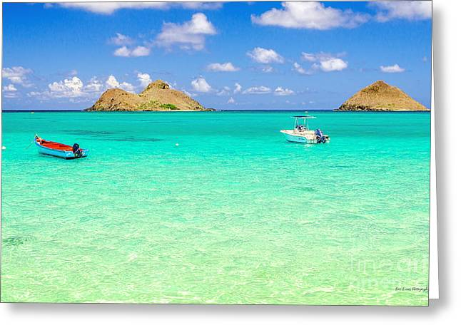 Greeting Card featuring the photograph Lanikai Beach Two Boats And Two Mokes by Aloha Art