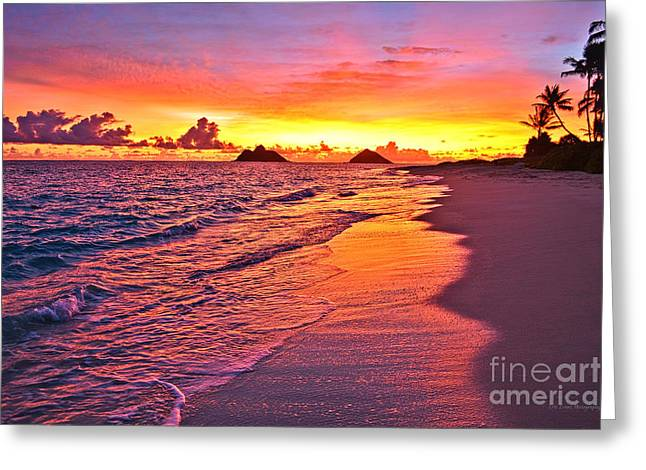 Lanikai Beach Winter Sunrise Rays Of Light Greeting Card