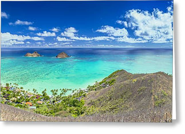 Lanikai Bellows And Waimanalo Beaches Panorama Greeting Card