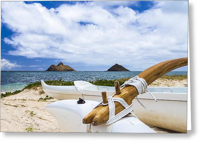 Greeting Card featuring the photograph Lanikai Outrigger 1 by Leigh Anne Meeks