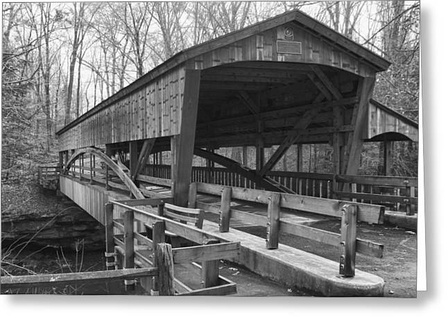 Lanterman Falls Covered Bridge Greeting Card by Guy Whiteley