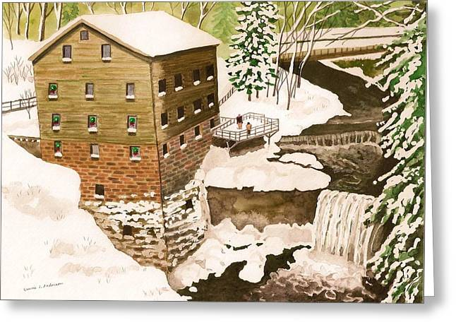 Lantermans Mill In Winter - Mill Creek Park Greeting Card