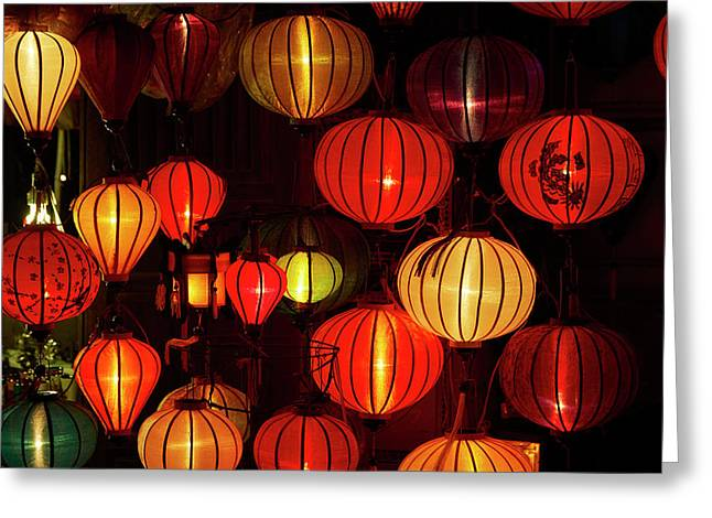 Lantern Shop At Night, Hoi An, Vietnam Greeting Card by David Wall