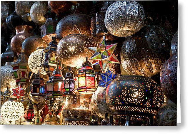 Lanterns For Sale In The Souk Greeting Card by Peter Adams