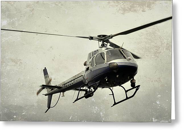Lapd Helicopter Greeting Card by Fraida Gutovich