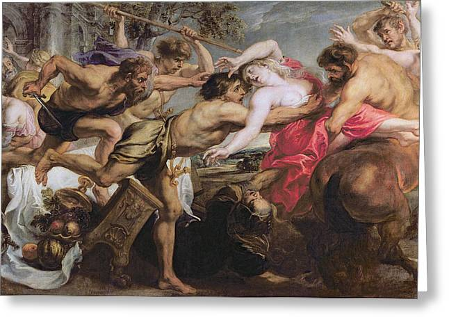 Lapiths And Centaurs Oil On Canvas Greeting Card by Peter Paul Rubens