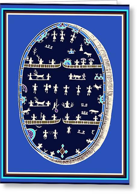 Greeting Card featuring the digital art Lappish Shaman's Ritual Drum by Vagabond Folk Art - Virginia Vivier