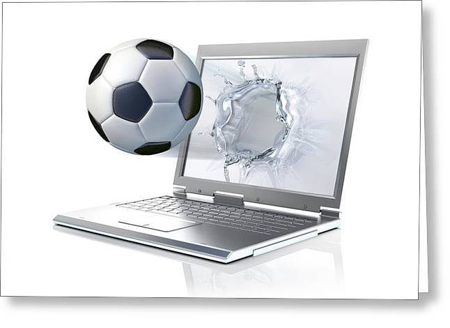 Laptop With Football Greeting Card by Leonello Calvetti