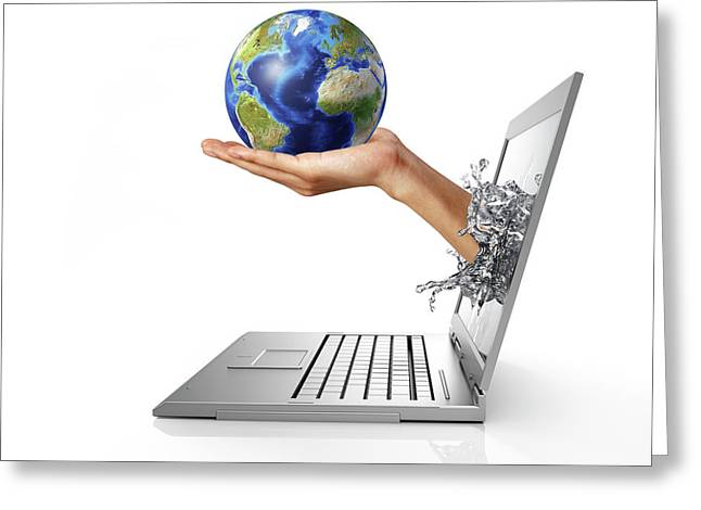Laptop With Hand Holding Globe Greeting Card by Leonello Calvetti