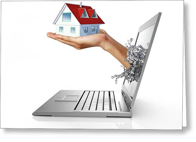 Laptop With Hand Holding Model House Greeting Card