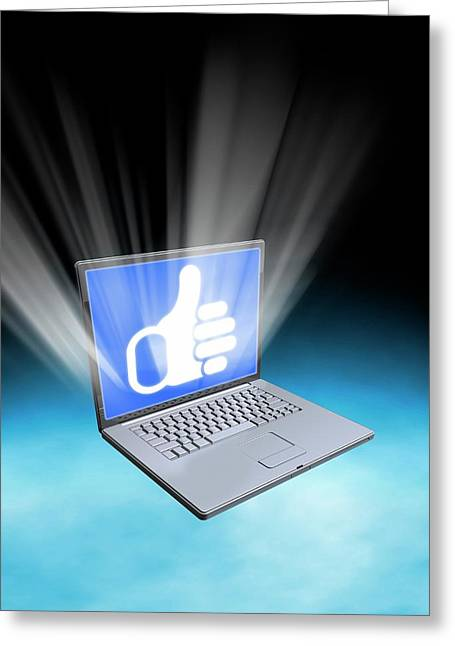 Laptop With Thumbs Up Icon Greeting Card by Victor Habbick Visions