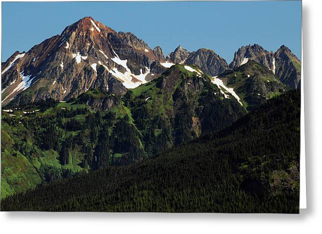 Larabee Mountain And Border Peak Greeting Card by Michel Hersen