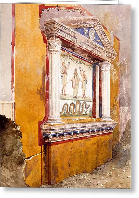 Lararium Of Family Altar, Seen In Situ Greeting Card by Luigi Bazzani