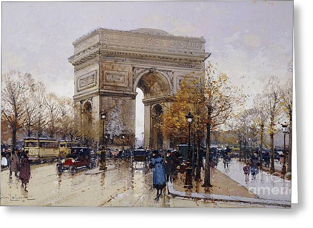 L'arc De Triomphe Paris Greeting Card by Eugene Galien-Laloue
