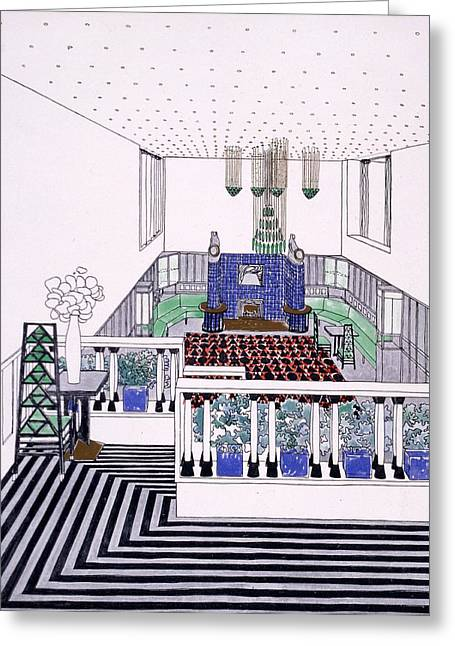 Large Balconied Reception Room Greeting Card by Leopold Bauer