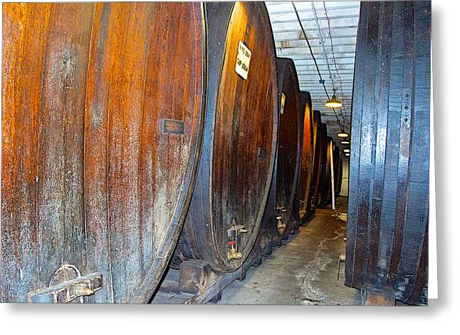 Large Barrels At Korbel Winery In Russian River Valley-ca Greeting Card