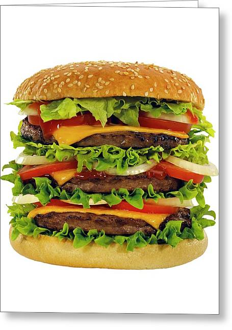 Large Beef Burger With Cheese And Salad Greeting Card