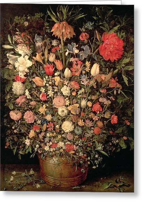 Large Bouquet Of Flowers In A Wooden Tub, 1606-07, Oil On Canvas Greeting Card