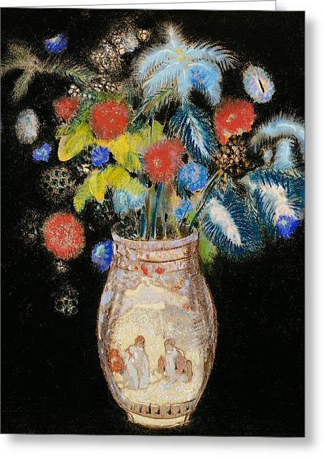 Large Bouquet On A Black Background Greeting Card by Odilon Redon