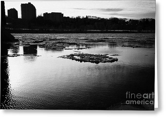 large chunks of floating ice on the south saskatchewan river in winter flowing through downtown Sask Greeting Card by Joe Fox