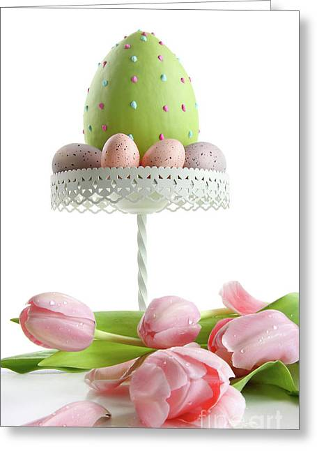 Large Easter Egg With Pink Tulips  Greeting Card by Sandra Cunningham