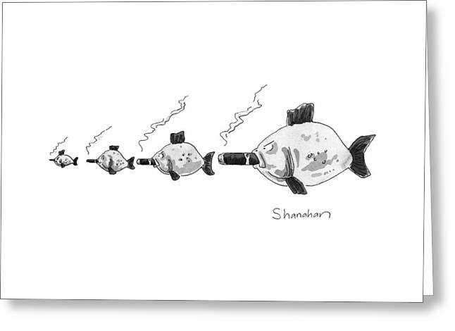 Large Fish Is Smoking A Fat Cigar. Smaller Fish Greeting Card