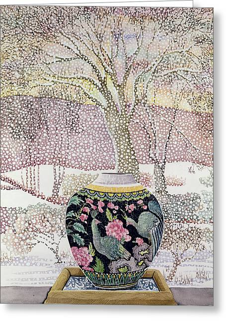 Large Ginger Jar In Snowstorm Greeting Card