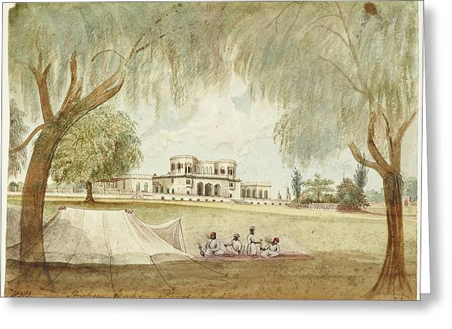 Large House With Tent In Foreground Greeting Card by British Library