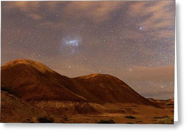 Large Magellanic Cloud Over Badlands Greeting Card by Luis Argerich
