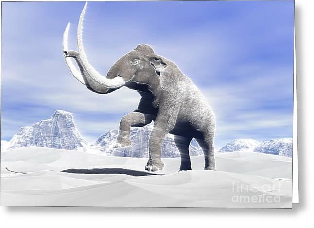 Large Mammoth Walking Slowly Greeting Card by Elena Duvernay