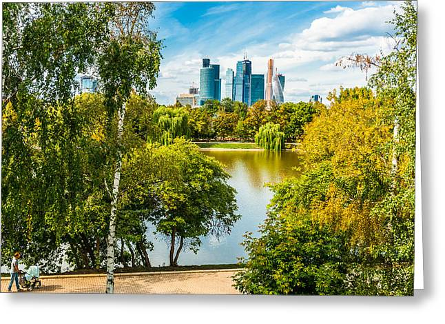 Large Novodevichy Pond Of Moscow - 1 Greeting Card