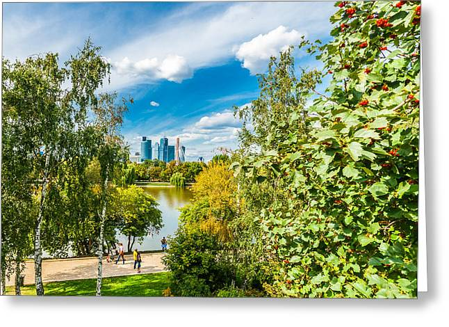 Large Novodevichy Pond Of Moscow - 3 Greeting Card