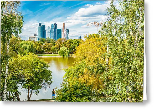 Large Novodevichy Pond Of Moscow - 4 Greeting Card by Alexander Senin